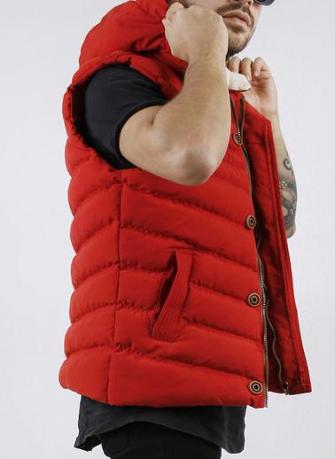 XHAN Hardal Çıkarılabilir Kapüşonlu Cepli Fermuarlı Slim Fit Yelek 1Kxe4-44258-37 Kırmızı